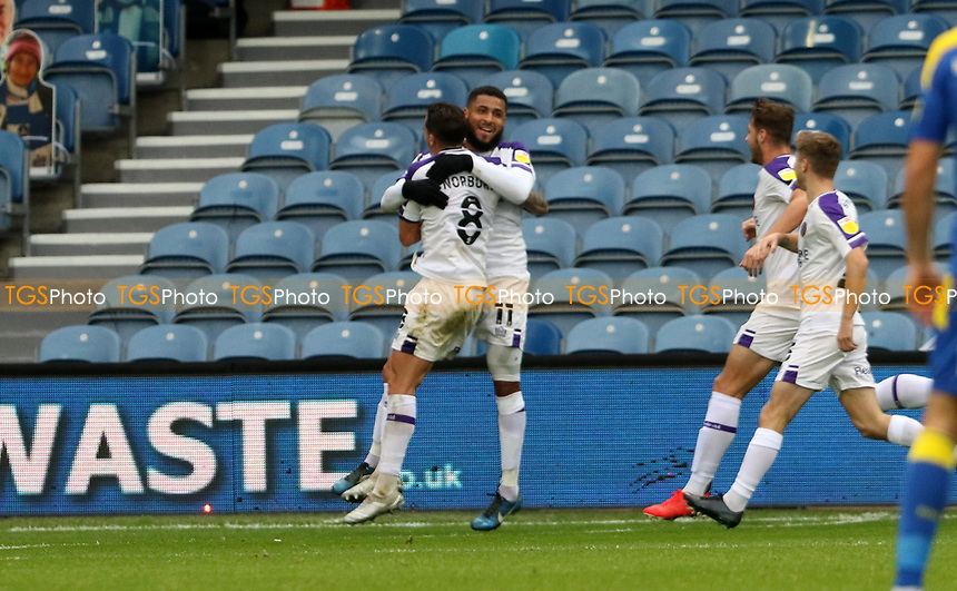 first goal scored for Shrewsbury Town by Leon Clarke of Shrewsbury Town as he celebrates with Oliver Norburn of Shrewsbury Townduring AFC Wimbledon vs Shrewsbury Town, Sky Bet EFL League 1 Football at The Kiyan Prince Foundation Stadium on 17th October 2020