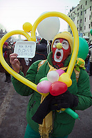 Moscow, Russia, 04/02/2012..Tens of thousands of demonstrators march and protest in central Moscow against election fraud and Prime Minister Vladimir Putin in temperatures of -20 centigrade. Organisers claimed an attendance of 130,000 despite the bitter cold.