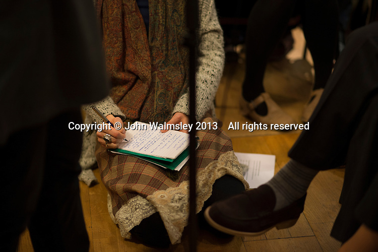 Taking notes at the event to discuss Leila Berg's contribution to radical education and children's lives, Houseman's bookshop, London, 22nd May 2013.