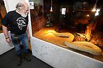 Foto: VidiPhoto<br /> <br /> VLISSINGEN – In reptielenzoo Iguana leven de meest wonderlijk reptielen en amfibieën. De meeste zijn door de douane of bij particulieren in beslag genomen. De Vlissingse reptielenopvang probeert waar mogelijk de dieren te herplaatsen in dierentuinen of weer terug te zetten in de natuur. Waar dat niet mogelijk is zorgt Iguana zelf voor opvang en zijn de dieren voor bezoekers te zien. Foto: Ad Bom bij een Python m. bivitattus - albino vorm van de donkere tijger python.