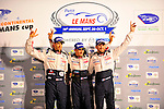 Alexander Wurz (AUT), Ste?phane Sarrazin (FRA) /  Franck Montagny (FRA) /  drivers of the #8 Peugeot Sport Total 908 stand on the podium after winning the overall win at the 14th annual Petit Le Mans at Road Atlanta in Braselton GA on Oct. 1, 2011.