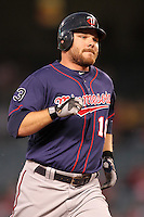 Minnesota Twins outfielder Jason Kubel #16 runs the bases against the Los Angeles Angels at Angel Stadium on September 2, 2011 in Anaheim,California. Minnesota defeated Los Angeles 13-5.(Larry Goren/Four Seam Images)