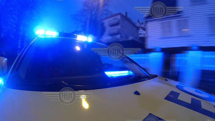 Legebil med blålys. Bilde tatt ifm reportasje om Basen i Bergen. <br /> <br /> Magasin 1/2013