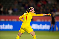 CARSON, CA - FEBRUARY 07: GK Stephanie Labbe #1 GK of Canada points directions during a game between Canada and Costa Rica at Dignity Health Sports Complex on February 07, 2020 in Carson, California.