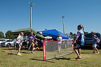 Orlando, Florida - Sunday, May 8, 2016: Young fans play soccer-tennis prior to a National Women's Soccer League match between Orlando Pride and Seattle Reign FC at Camping World Stadium.