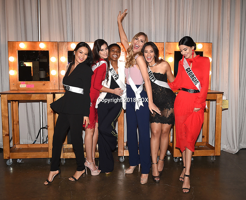 BANGKOK, THAILAND - DECEMBER 15: 2018 MISS UNIVERSE: L-R: Miss Thailand Sophida Kanchanarin, Miss Malta Francesca Mifsud, Miss Kenya Wabaiya Kariuki, Miss Spain Angela Ponce, Miss Egypt Nariman Khaled and Miss Georgia Lara Yan during rehearsals for the 2018 MISS UNIVERSE competition at the Impact Arena in Bangkok, Thailand on December 15, 2018. Miss Universe will air live on Sunday, Dec. 16 (7:00-10:00 PM ET live/PT tape-delayed) on FOX.  (Photo by Frank Micelotta/FOX/PictureGroup)