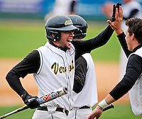 2 May 2008: University of Vermont Catamounts' outfielder Ethan Paquette, a Sophomore from West Burke, VT, celebrates with teammates during a game against the Binghamton University Bearcats at Historic Centennial Field in Burlington, Vermont. The Catamounts defeated the Bearcats 6-2 in the first game of their weekend series...Mandatory Photo Credit: Ed Wolfstein Photo