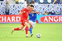 KANSAS CITY, KS - JULY 15: Alistair Johnson #2 of Canada with the ball during a game between Canada and Haiti at Children's Mercy Park on July 15, 2021 in Kansas City, Kansas.