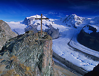 Cross and Monte rosa massif with Gorner glacier, Gornergrat, Zermatt, Swiss Alps, Switzerland, Europe