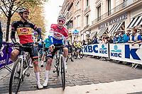 Belgian Champion Dries Debondt (BEL/Alpecin-Fenix) & Dutch National Champion Mathieu Van der Poel (NED/Alpecin-Fenix) at the race start in Leuven <br /> <br /> 60th De Brabantse Pijl 2020 - La Flèche Brabançonne (1.Pro)<br /> 1 day race from Leuven to Overijse (BEL/197km)<br /> <br /> ©kramon