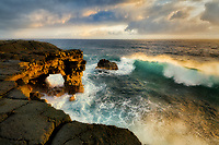 Unnamed sea arch and waves in the Puna district, Hawaii.