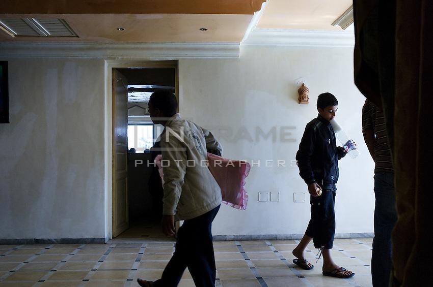 Hotel lobby near the Libyan border close to Ras Adjir