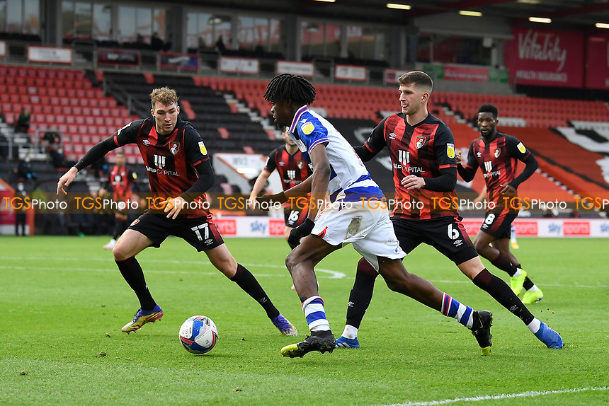 Ovie Ejaria of Reading takes on Chris Mepham right and Jack Stacey of AFC Bournemouth during AFC Bournemouth vs Reading, Sky Bet EFL Championship Football at the Vitality Stadium on 21st November 2020
