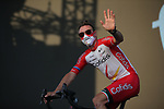 Elia Viviani (ITA) Cofidis on stage at the team presentation before the Tour de France 2020, Nice, France. 27th August 2020.<br /> Picture: ASO/Thomas Maheux   Cyclefile<br /> All photos usage must carry mandatory copyright credit (© Cyclefile   ASO/Thomas Maheux)