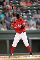 Shortstop Frankie Rios (12) of the Greenville Drive bats in a game against the Rome Braves on Saturday, April 14, 2018, at Fluor Field at the West End in Greenville, South Carolina. Rome won, 4-0. (Tom Priddy/Four Seam Images)