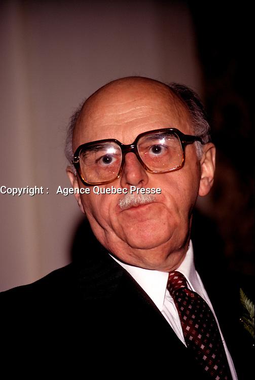 Le maire de Montreal Jean Drapeau<br /> ,  mai 1982<br /> <br />  (date exacte inconnue)<br /> <br /> PHOTO : Agence Quebec Presse <br /> <br /> <br /> <br /> <br /> <br /> PHOTO :   Agence Quebec Presse