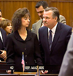 """HARTFORD, CT- 03 JANUARY 07- 010307JT16-<br /> State Rep. John """"Corky"""" Mazurek, D-Wolcott, on the opening day of the General Assembly's 2007 session at the Capitol in Hartford.<br /> Josalee Thrift Republican-American"""