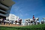 SAPPORO,JAPAN-AUG 22: Horses' post parading under blue sky on Sapporo Kinen Day at Sapporo Racecourse on August 22,2021 in Sapporo,Hokkaido,Japan. Kaz Ishida/Eclipse Sportswire/CSM