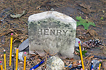 Gravestone of Author Henry David Thoreau, along with the rest of his family, Authors Ridge, Sleepy Hollow Cemetary, Concord, Massachusetts.  Pens, pencils and other gifts are left by visitors every year to famous authors graves found in the Sleepy Hollow.