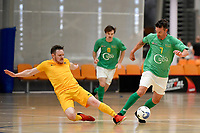 Adam Cowan of Central and Reid Hullemkeman of Southern during the Men's Futsal SuperLeague, Central Futsal v Southern United Futsal at ASB Sports Centre, Wellington on Saturday 31 October 2020.<br /> Copyright photo: Masanori Udagawa /  www.photosport.nz