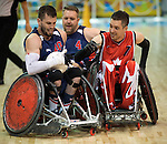 MISSISSAUGA, ON, AUGUST 12, 2015. Wheelchair Rugby - Canada vs USA in preliminary action. USA won the game 60-59 in double overtime Byron Green.<br /> Photo: Dan Galbraith/Canadian Paralympic Committee