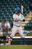 Dunedin Blue Jays left fielder Eduard Pinto (4) at bat during a game against the Bradenton Marauders on May 2, 2018 at LECOM Park in Bradenton, Florida.  Bradenton defeated Dunedin 6-3.  (Mike Janes/Four Seam Images)