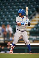 Dunedin Blue Jays left fielder Eduard Pinto (4) at bat during a game against the Bradenton Marauders on May 2, 2018 at LECOM Park in Bradenton, Florida.  Bradenton defeated Dunedin 6-3.  (Mike Janes/Four Seam Images)