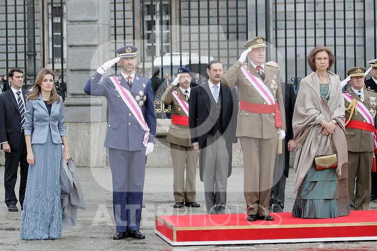 Military Christmas at Madrid Royal Palace. Princess Letizia, Prince Felipe and King Juan Carlos and Queen Sofia...Photo: MAC / ALFAQUI