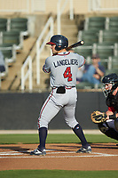 Shea Langeliers (4) of the Rome Braves at bat against the Kannapolis Intimidators at Kannapolis Intimidators Stadium on July 2, 2019 in Kannapolis, North Carolina.  The Intimidators walked-off the Braves 5-4. (Brian Westerholt/Four Seam Images)