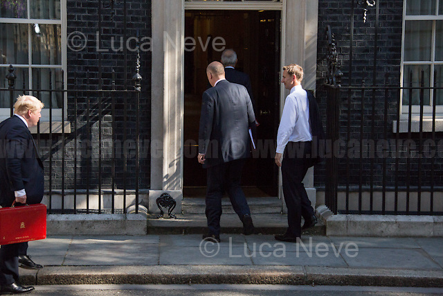 (From L to R) Boris Johnson MP (Secretary of State for Foreign and Commonwealth Affairs), Chris Grayling MP (Secretary of State for Transport), David Lidington MP (Lord President of the Council, Leader of the House of Commons) & Jeremy Hunt MP (Secretary of State for Health).<br /> <br /> London, 19/07/2016. First Cabinet meeting at 10 Downing Street (after the EU Referendum and consequent David Cameron's resignation) for the new Prime Minister Theresa May and her newly formed Conservative Government.<br /> <br /> For more information about the Cabinet Ministers: https://www.gov.uk/government/ministers