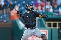 West Virginia Power catcher Deon Stafford (22) makes a throw to second base between innings of the game against the Greensboro Grasshoppers at First National Bank Field on August 9, 2018 in Greensboro, North Carolina. The Power defeated the Grasshoppers 5-3 in game one of a double-header. (Brian Westerholt/Four Seam Images)