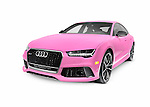 Bright pink 2016 Audi RS 7 Prestige Quattro Sedan luxury car isolated on white background with clipping path Image © MaximImages, License at https://www.maximimages.com
