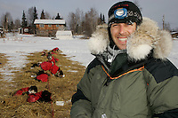 Thursday March 8, 2007   ----  Argentinian musher Hernan Maquieira is all smiles in Nikolai on Thursday morning  where he was running in 53rd place.