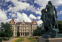 AJ2914, Albany, State Capitol, State House, New York, Statue in front of the State Capitol Building in Albany the capital city in the state of New York.