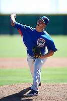 Chicago Cubs minor league pitcher Corbin Hoffner #47 during an instructional league game against the Colorado Rockies at the Salt River Flats Complex on October 13, 2012 in Scottsdale, Arizona.  (Mike Janes/Four Seam Images)
