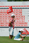 SINGAPORE - MARCH 08:  Lorena Ochoa of Mexico and her caddie on the par four 18th hole during the final round of HSBC Women's Champions at the Tanah Merah Country Club on March 8, 2009 in Singapore. Photo by Victor Fraile / The Power of Sport Images