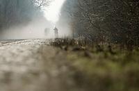 Paris-Roubaix 2013 RECON at Bois de Wallers-Arenberg..riders approaching through the dust
