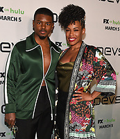 """LOS ANGELES - MARCH 2: J. Mallory McCree (L) and Angela Lewis attend the premiere of the new FX limited series """"Devs"""" at ArcLight Cinemas on March 2, 2020 in Los Angeles, California. (Photo by Frank Micelotta/FX Networks/PictureGroup)"""