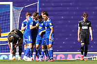 13th September 2020; Portman Road, Ipswich, Suffolk, England, English League One Footballl, Ipswich Town versus Wigan Athletic; Gwion Edwards of Ipswich Town celebrates with team mates after he scores for 2-0 in the 80th minute