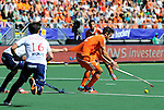 The Hague, Netherlands, June 13: Robbert Kemperman #12 of The Netherlands is caught by Harry Martin #9 of England during the field hockey semi-final match (Men) between The Netherlands and England on June 13, 2014 during the World Cup 2014 at Kyocera Stadium in The Hague, Netherlands. Final score 1-0 (1-0)  (Photo by Dirk Markgraf / www.265-images.com) *** Local caption ***