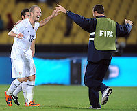 Michael Bradley of USA celebrates at full-time. USA defeated Egypt 3-0 during the FIFA Confederations Cup at Royal Bafokeng Stadium in Rustenberg, South Africa on June 21, 2009..