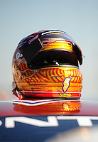 Jul, 8, 2011; Joliet, IL, USA: NHRA pro stock driver Jason Line helmet during qualifying for the Route 66 Nationals at Route 66 Raceway. Mandatory Credit: Mark J. Rebilas-
