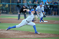 Shane Bieber (19) of the UC Santa Barbara Gauchos pitches against the Cal State Long Beach Dirtbags at Blair Field on April 1, 2016 in Long Beach, California. UC Santa Barbara defeated Cal State Long Beach, 4-3. (Larry Goren/Four Seam Images)