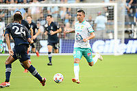 KANSAS CITY, KS - AUGUST 10: Elias Hernandez #11 Club Leon with the ball during a game between Club Leon and Sporting Kansas City at Children's Mercy Park on August 10, 2021 in Kansas City, Kansas.