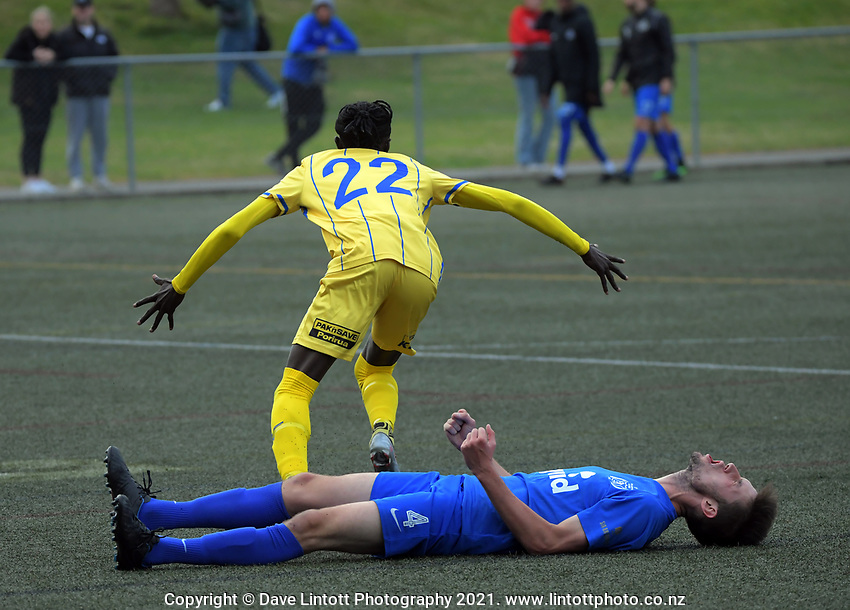Action from the Central League football match between Wellington Olympic and Western Suburbs at Wakefield Park in Wellington, New Zealand on Saturday, 8 May 2021. Photo: Dave Lintott / lintottphoto.co.nz