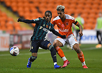 Blackpool's Jordan Lawrence-Gabriel battles for the ball<br /> <br /> Photographer Dave Howarth/CameraSport<br /> <br /> EFL Trophy - Northern Section - Group G - Blackpool v Leeds United U21 - Wednesday 11th November 2020 - Bloomfield Road - Blackpool<br />  <br /> World Copyright © 2020 CameraSport. All rights reserved. 43 Linden Ave. Countesthorpe. Leicester. England. LE8 5PG - Tel: +44 (0) 116 277 4147 - admin@camerasport.com - www.camerasport.com