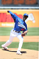 Yadier Alvarez (40) of the Rancho Cucamonga Quakes pitches against the Stockton Ports at LoanMart Field on May 28, 2017 in Rancho Cucamonga, California. Stockton defeated Rancho Cucamonga, 7-4. (Larry Goren/Four Seam Images)