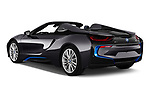 Car pictures of rear three quarter view of a 2019 BMW i8 Base 2 Door Convertible angular rear