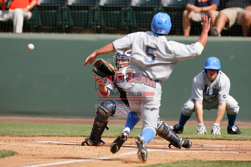 Billy Marcoe of the Cal.St. Fullerton Titans during game against the UCLA Bruins at Jackie Robinson Stadium in Los Angeles,California on June 12, 2010. Photo by Larry Goren/Four Seam Images