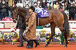 TAKARAZUKA,JAPAN-APR 4: Gran Alegria (2020 JRA Awards Best Sprinter or Miler category winner)walks on the paddock before the Osaka Hai at Hanshin Racecourse on April 4,2021 in Takarazuka,Hyogo,Japan. Kaz Ishida/Eclipse Sportswire/CSM